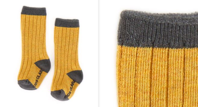 KIDS CLARA Knitted Knee Sock Mustard Knesokk Kids Clara