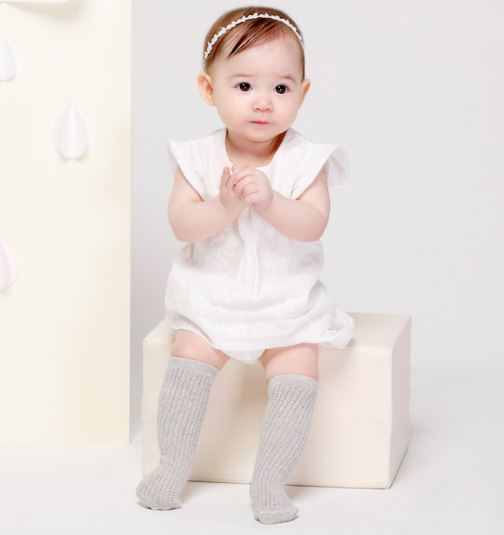Kids Clara Knitted Knee Sock w/Pattern Grey Knesokk Kids Clara