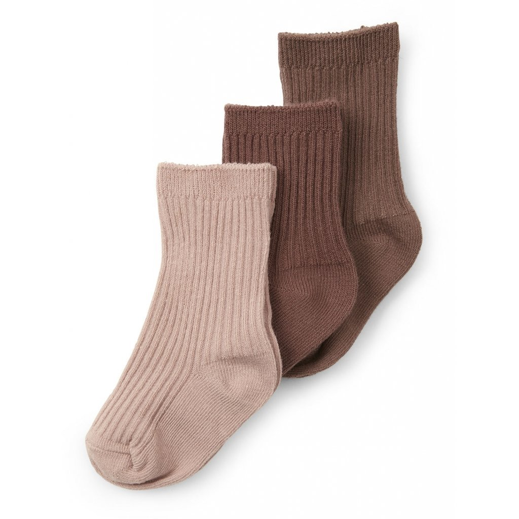 Konges Sløjd 3 PACK RIB SOCKS - MOCCA/ROSE BLUSH/CHOCO BEAN - Torgunns Barneklær