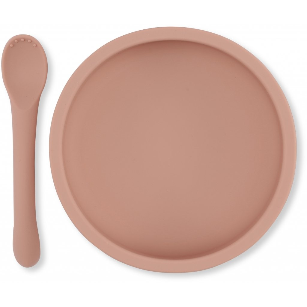 Konges Sløjd BOWL & SPOON SILICONE SET - ROSE Tilbehør Konges Sløjd