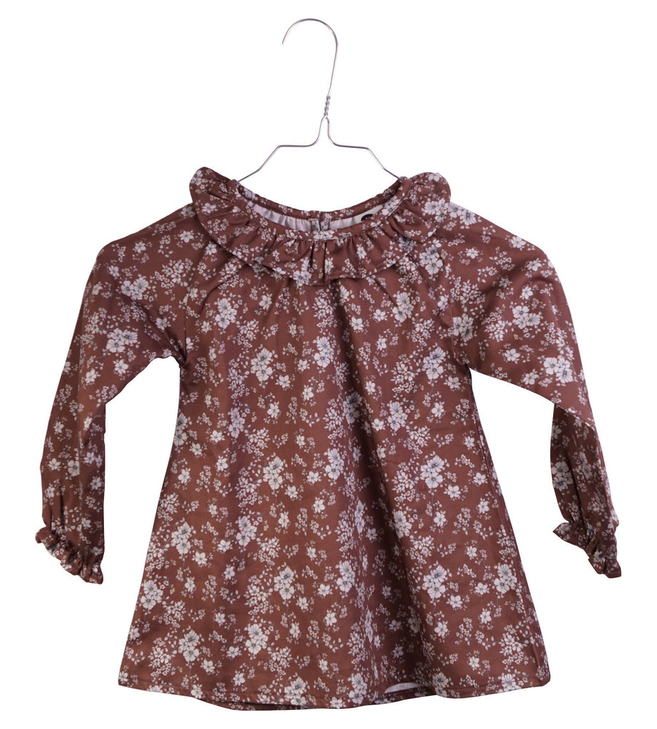 Krutter Flowered SILLE Dress - Mink - Torgunns Barneklær
