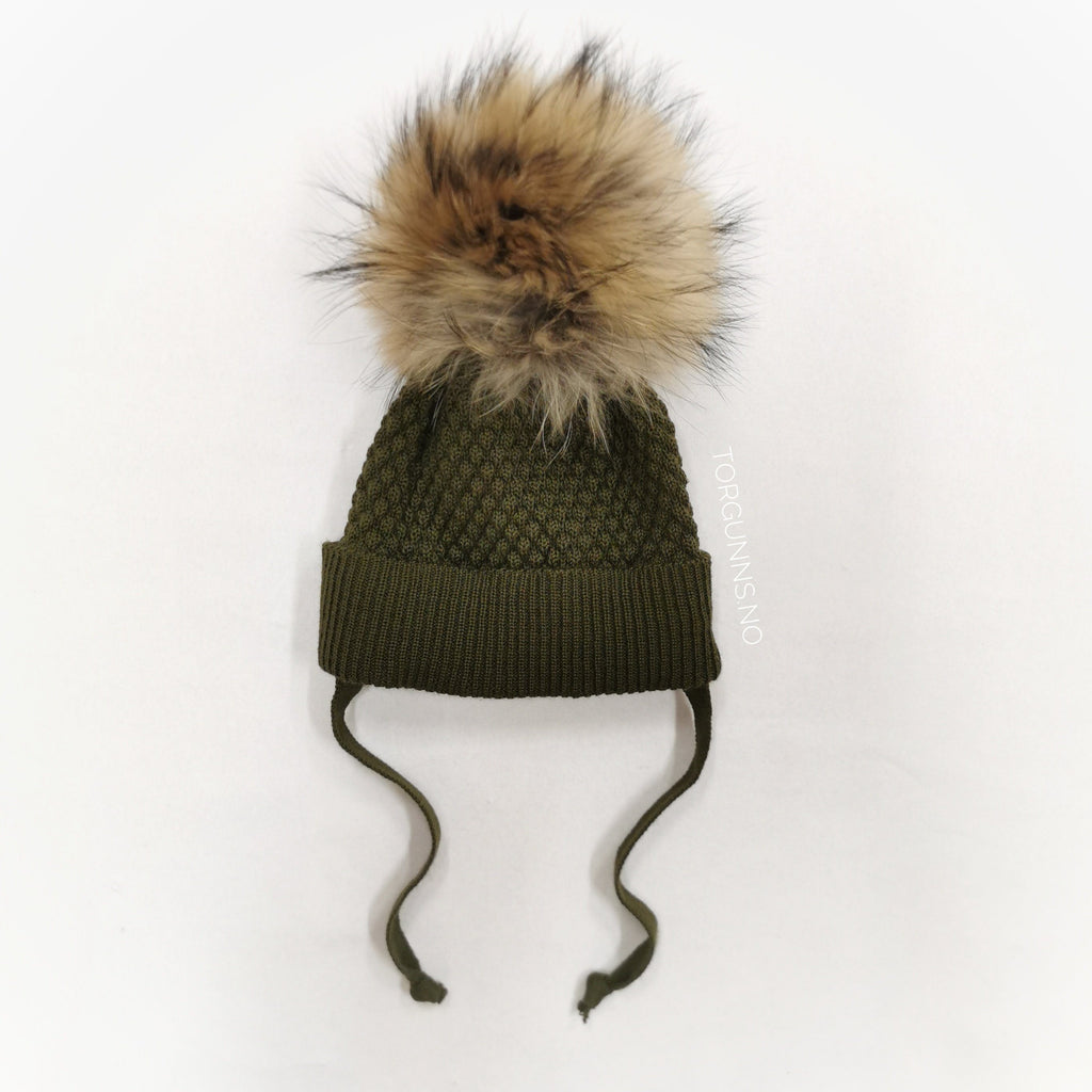 mp Denmark CHUNKY OSLO Beanie w/Natural Pom - ARMY Luer MP