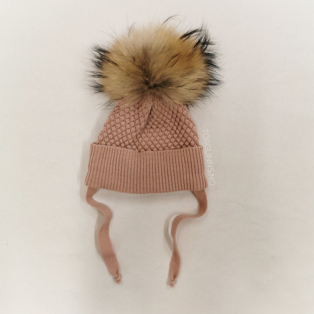 mp Denmark CHUNKY OSLO Beanie w/Natural Pom - POWDER Luer MP