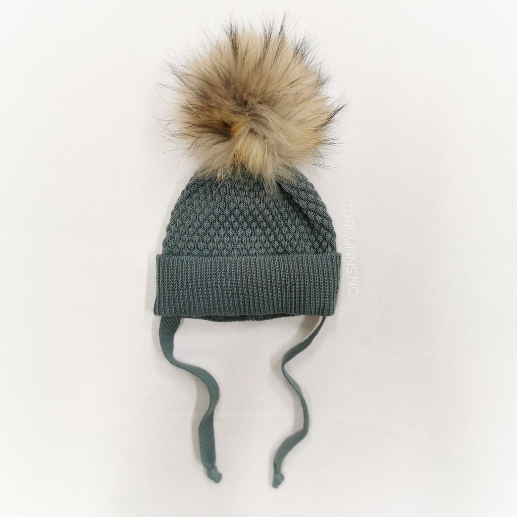 mp Denmark CHUNKY OSLO Beanie w/Natural Pom - STORMY SEA Luer MP