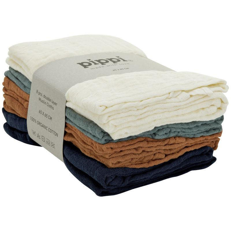 PIPPI 8pk Muslin Cloths 65x65 - Dress Blues Kluter Pippi
