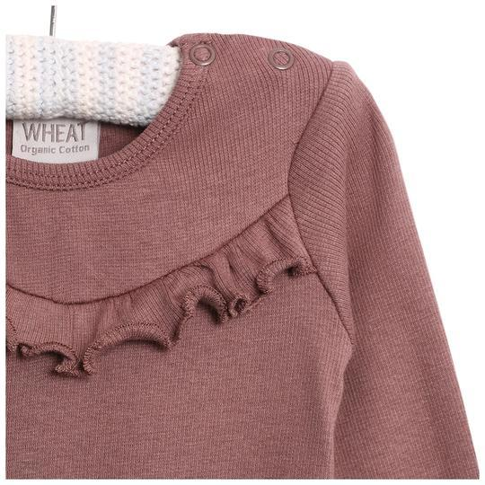 WHEAT Body RIB Ruffle LS - Powder Plum - Torgunns Barneklær