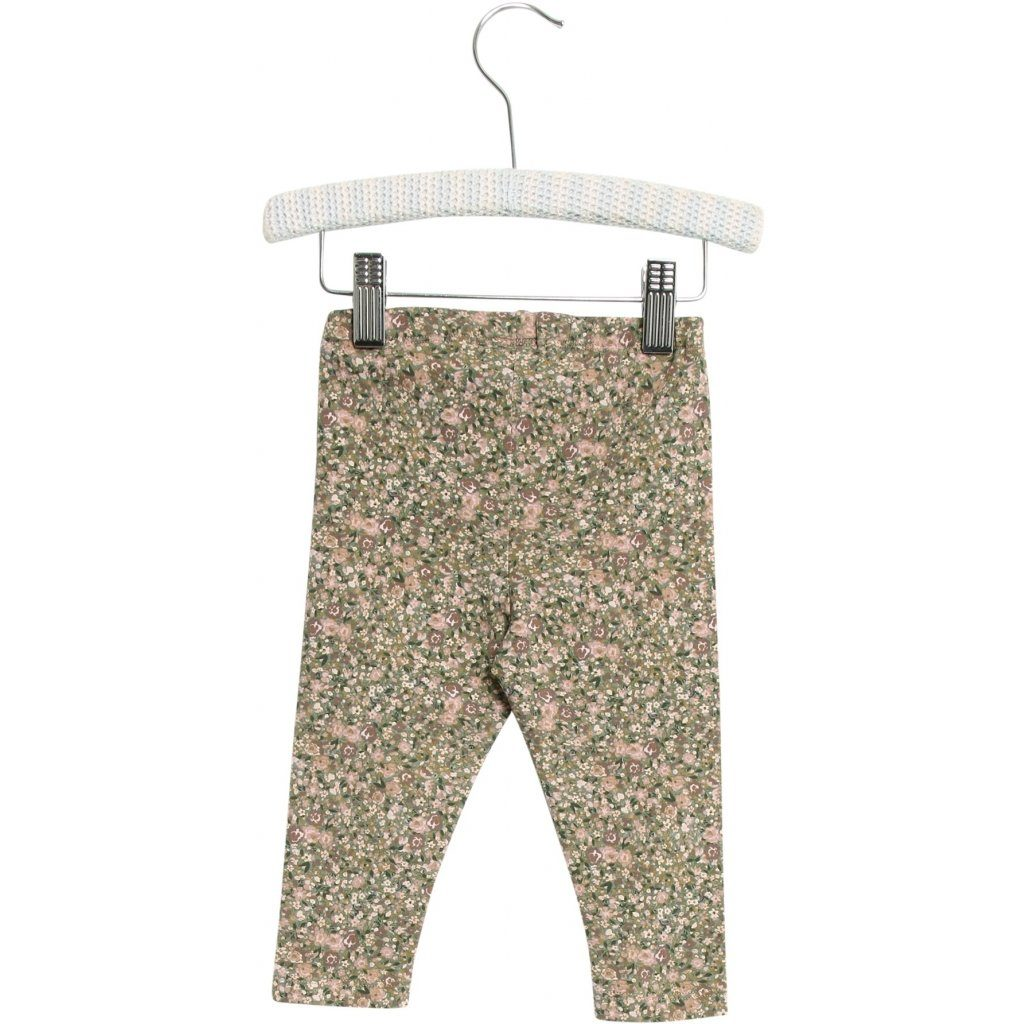 WHEAT JERSEY Leggings - Green Flowers - Torgunns Barneklær