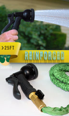 25 FT Expandable Garden Water Hose With 100% Brass Fittings