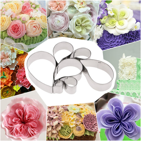 7pcs Stainless Steel Baking Cake Decorating Fondant Tools Petal/Gum Paste Mold Austin Rose Paisley Shaped Flower Petals Cutter