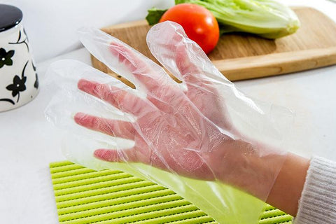 100pcs Eco-friendly Disposable Plastic Gloves for Restaurant Hotel Handling Raw Chicken