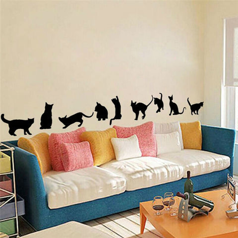 Cute cats playing wall stickers kids room decorations DIY home decals vinyl art poster