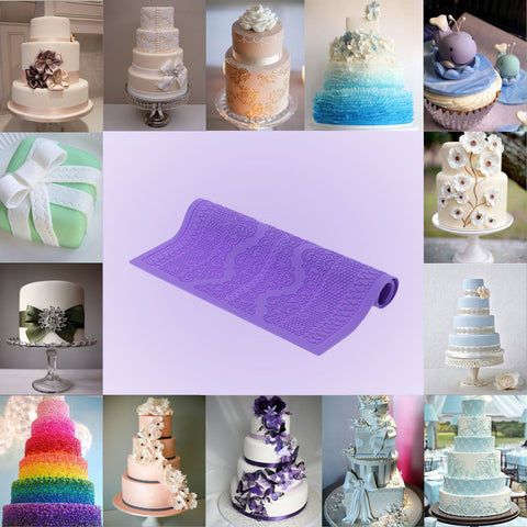 Non-stick Purple Silicone Fondant Cakes Lace Baking Mold DIY Cake Decoration Kitchen Tool 38.5 * 28.5cm