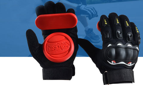 Skateboard turn slide downhill road plate brake gloves