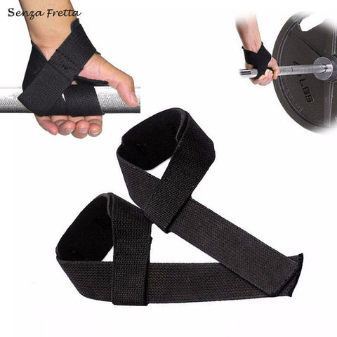 For Weight Lifting Training Gym Wrist Support Gloves Wrap Hand Bar Black Straps JS1131