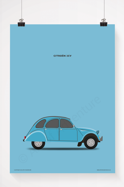 Citroën 2CV Portrait Blue - Art of Adventure