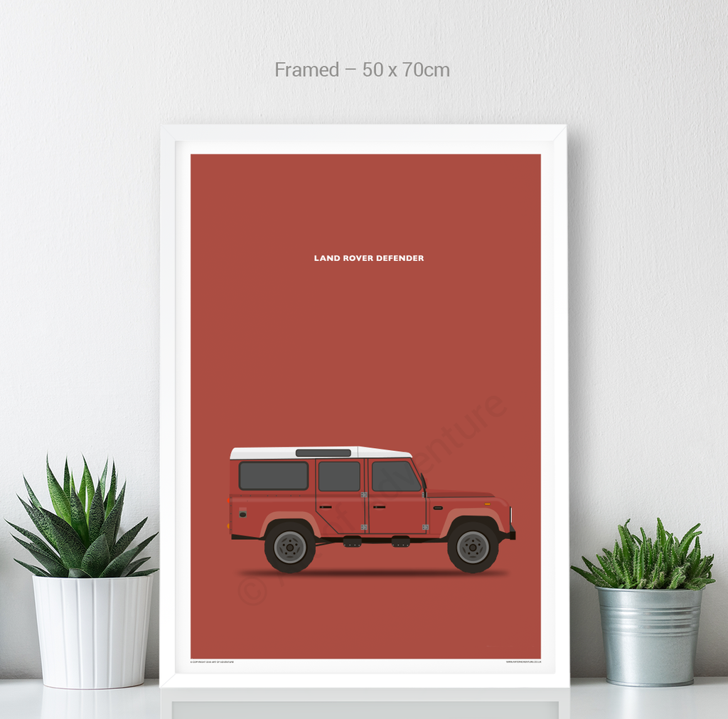 Land Rover Defender 110 Portrait Red - Art of Adventure