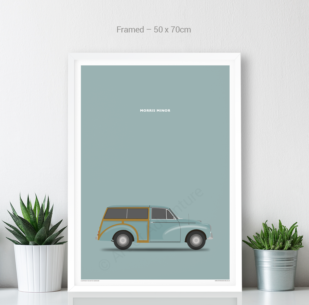 Morris Minor Traveller Portrait Blue