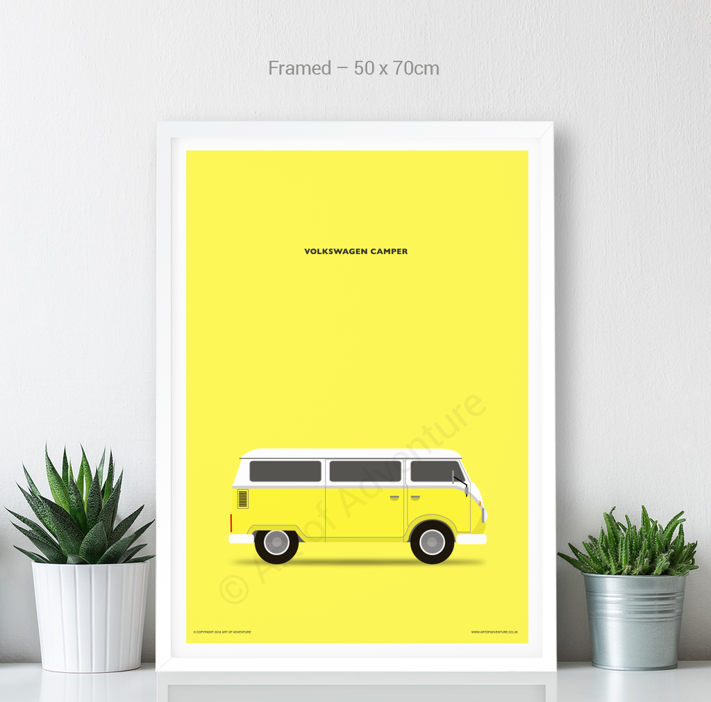Volkswagen Campervan Portrait Yellow - Art of Adventure