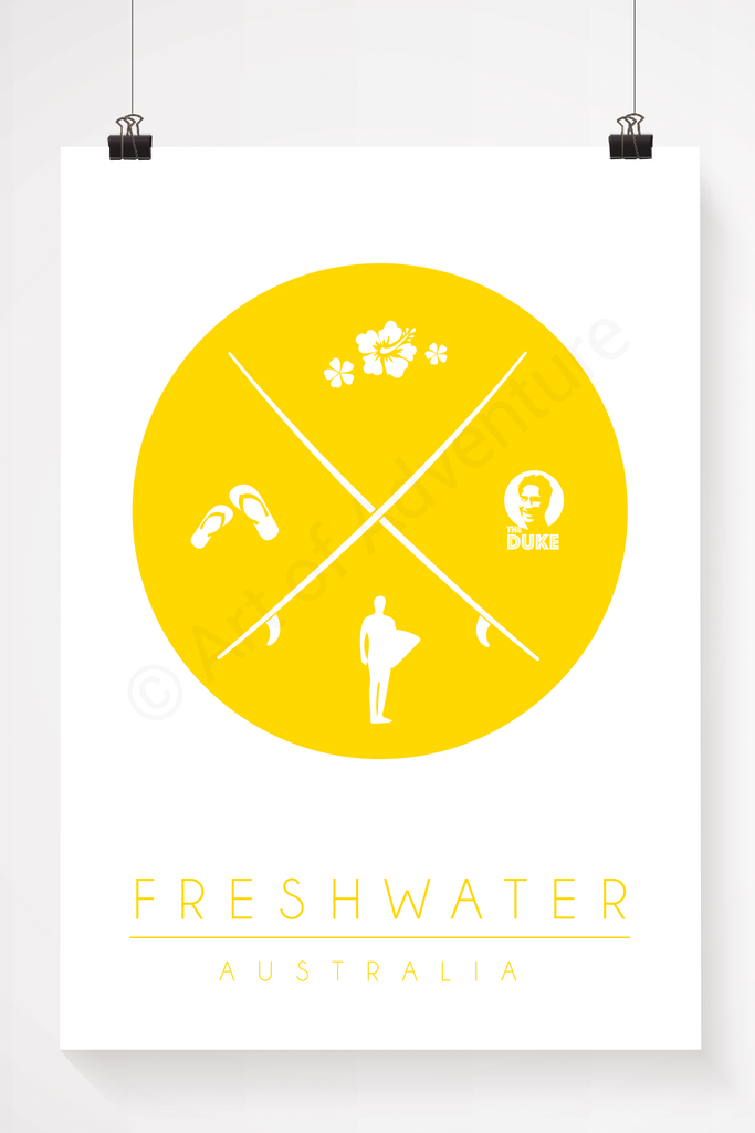 Freshwater beach, Australia surfboard illustration