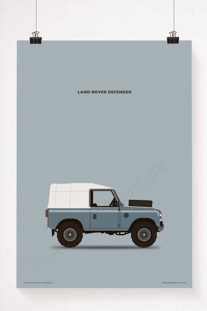 British Land Rover Portrait Blue