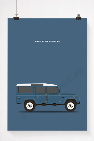 Land Rover Defender 110 Portrait Blue - Art of Adventure