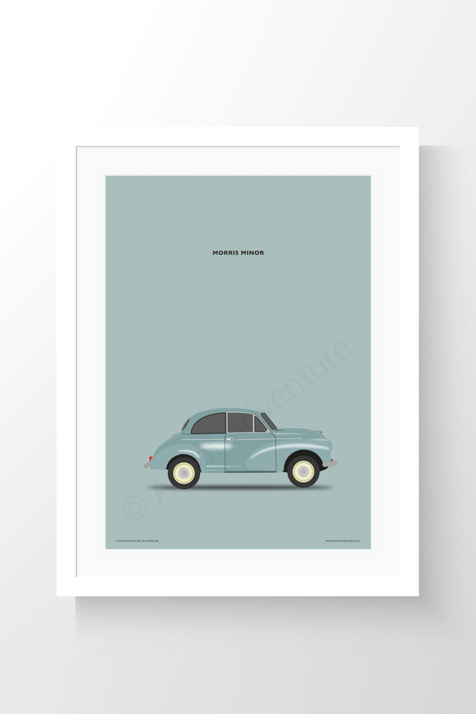 Morris Minor Portrait Blue - Art of Adventure