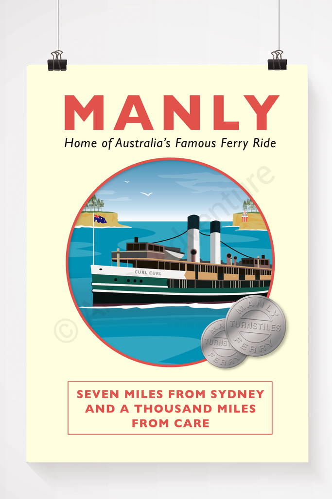 Old Manly ferry illustration