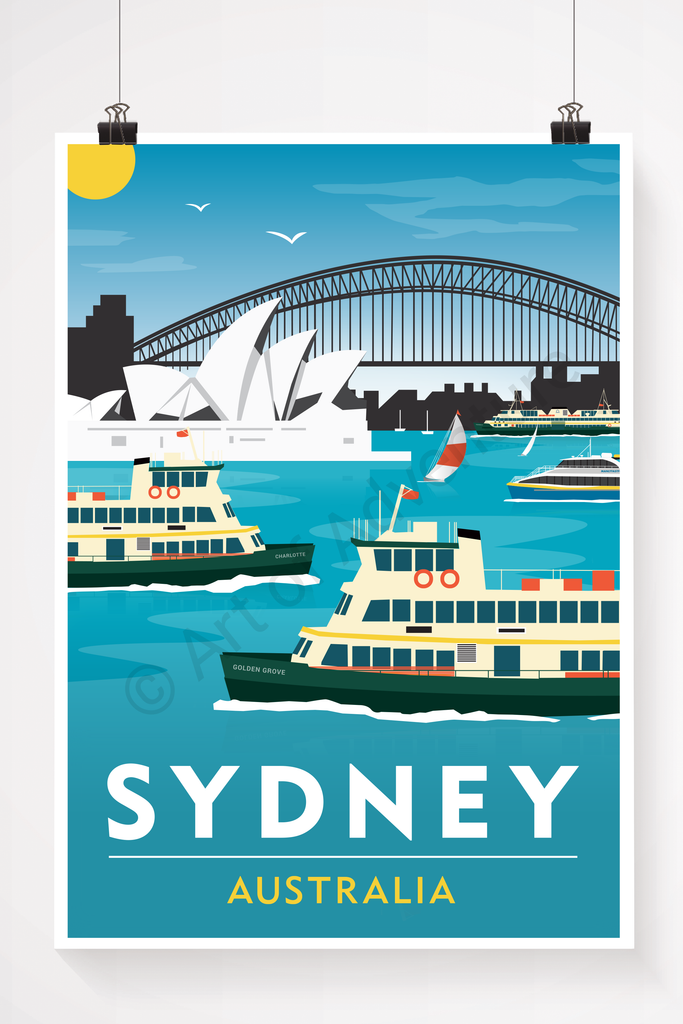 Sydney Australia, opera house, harbour bridge and ferry illustration