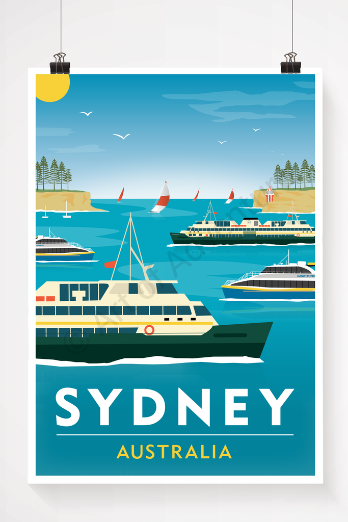 Sydney, Australia, harbour heards and ferries illustration