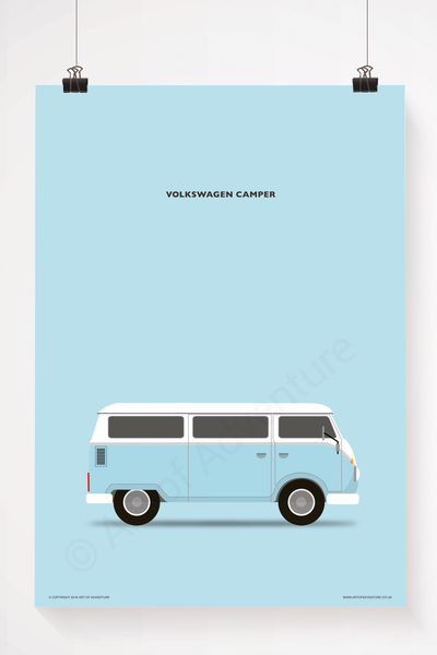 Volkswagen Campervan Portrait Blue - Art of Adventure