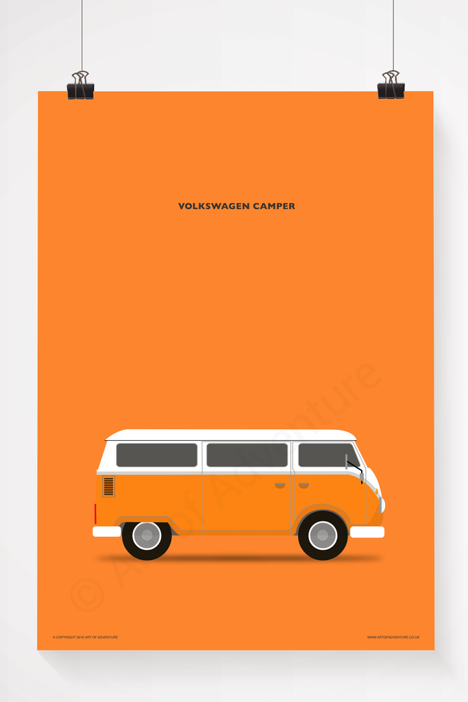 Volkswagen Campervan Portrait Orange - Art of Adventure