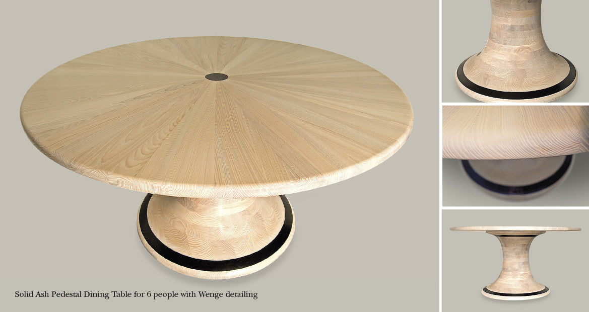 Solid Ash Pedestal Round Dining Table with Wenge Detailing (6 people). Design by The Fine Wooden Article Company Gloucestershire, UK.