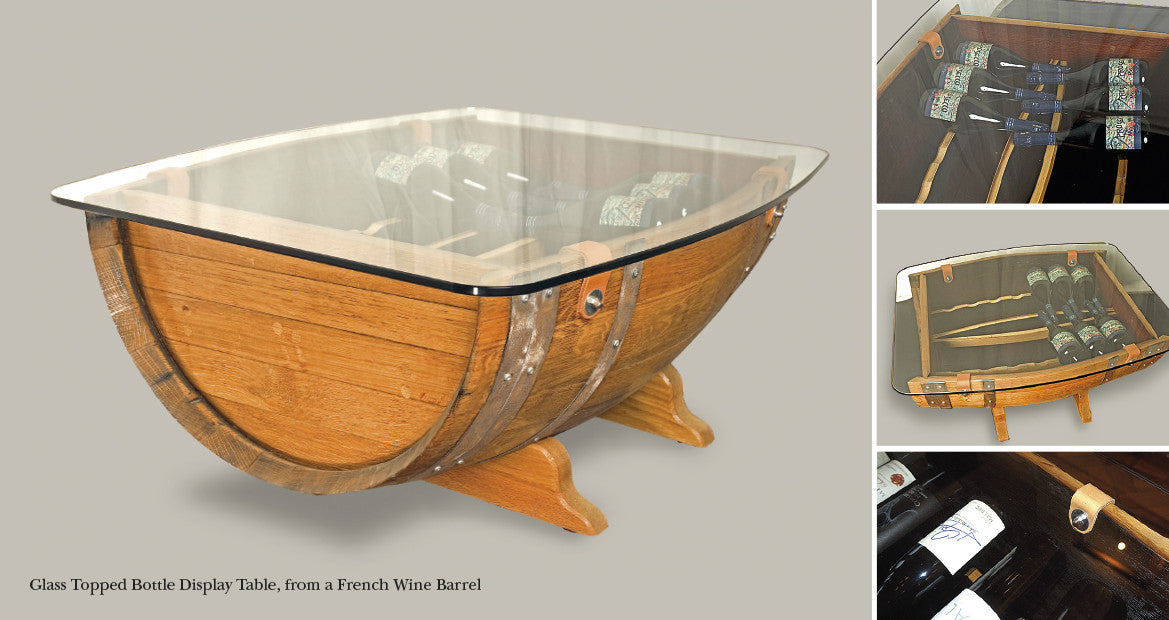Glass top Display/ coffee Table from Red wine Oak Barrel. Design by The Fine Wooden Article Company, Gloucestershire, UK.