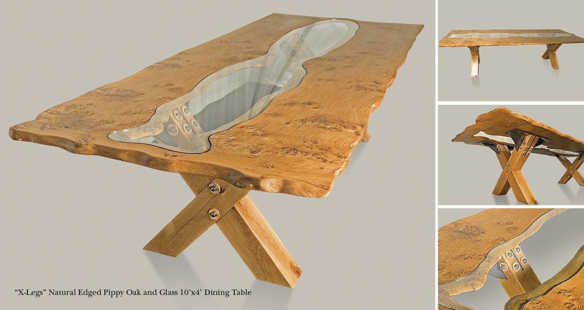 'X-Leg' Natural Edged Pippy Oak & Glass Dining Table Designed by The Fine Wooden Article Company., Gloucestershire, UK