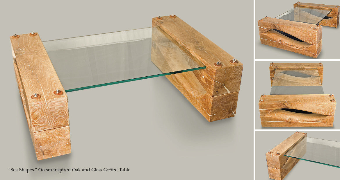 'Sea Shapes' Solid Oak & Glass Coffee Table designed & handcrafted from sustainable wood by The Fine Wooden Article Company, Gloucestershire, UK.