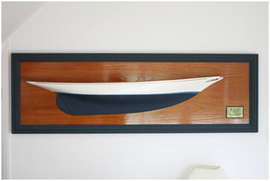 Yachts scaled Half Model on Mahogany backboard with brass plaque. Design & Hand Craft by The Fine Wooden Article Company, sustainable English hardwoods Gloucestershire, UK.