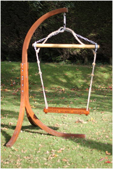 Child Solid Oak Swing seat, free standing bespoke, Engraved 'Higher Mummy Higher'.  Designed by The Fine Wooden Article Co., Gloucestershire, UK