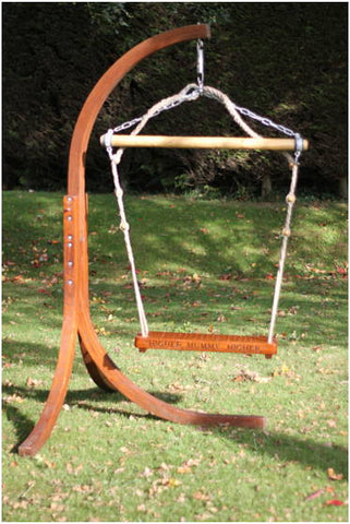 Freestanding Bespoke Garden swing-seat English solid Oak, Personalise & Engrave, traditionally crafted, practical & finely designed with high quality robust rope-work in Gloucestershire, UK.