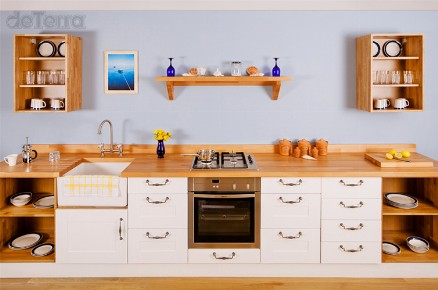 4b Bespoke Kitchen Cottage Contemporary Traditional Solid Hardwood Designed & Installed by The Fine Wooden Article Co., Gloucestershire, South West, UK Kitchen Worktop, sink, double oven counter storage metal handles.