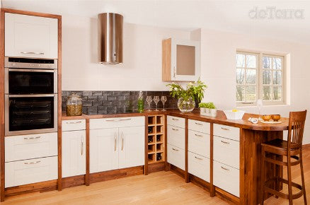 3 Bespoke Kitchen Contemporary Traditional Solid Hardwood Designed & Installed by The Fine Wooden Article Co., Gloucestershire, South West, UK. Kitchen Worktop, sink, double oven counter storage metal handles.