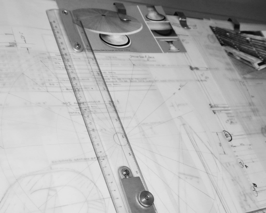 Technical Architect Drawing Board Carpenter Wood Working Workshop. Sustainable English Oak Wood Designer Maker Gloucestershire The Fine Wooden Article Company UK