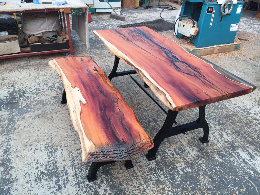 Dining Table and Bench From Ancient Yew, with Epoxy and Cast Iron Legs.