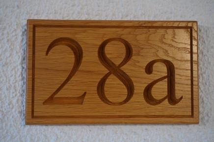 Large Solid Oak Traditional House/ Garage Number Sign, bespoke, handengraved, High Quality, durable, crafted in our wood working workshop, Gloucestershire, UK.