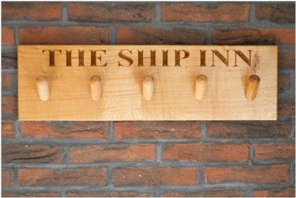 5 PEG Traditional Solid Oak Coat Peg Rail, wall-mounted, bespoke, engraved & hand crafted from sustainable woods in our Gloucestershire workshop, UK. The Fine Wooden Article Company.