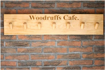 7 PEG Traditional Solid Oak Coat Peg Rail, wall-mounted, bespoke, engraved & hand crafted from sustainable woods in our Gloucestershire workshop, UK. The Fine Wooden Article Company.