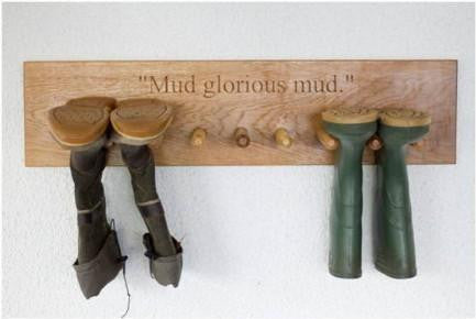 9 PEG Traditional Solid Oak Boot Peg Rack, wall-mounted, bespoke, engraved & hand crafted from sustainable woods in our Gloucestershire workshop, UK. The Fine Wooden Article Company.