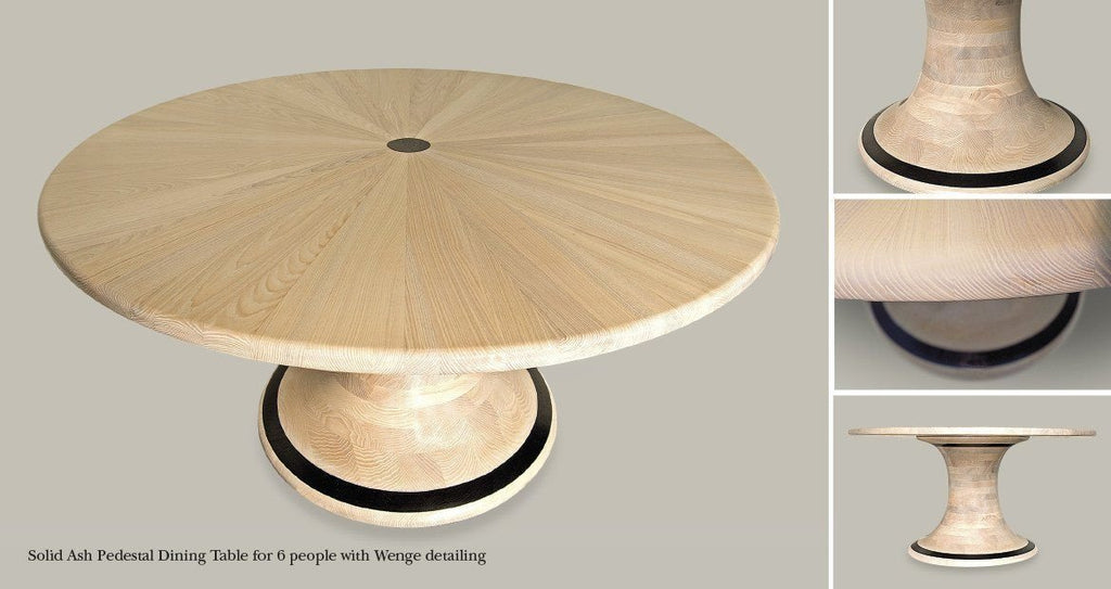 Solid Ash & Wenge round dining table, handcrafted from sustainable woods by The Fine Wooden Article Company, Gloucestershire, UK. Light & Dark wood, wedge inlay.
