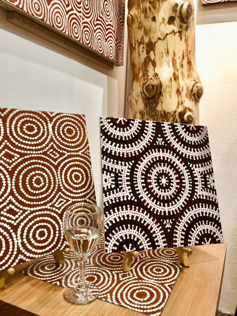 Cedar of Lebanon & Australian Aboriginal Art Ceramic Tile My Country Emu Dreaming, Bush Onion 1 & Bush Onion 2 by Bay Gallery Home, with steel hair pin legs. The Fine Wooden Article Co., Gloucestershire, UK.