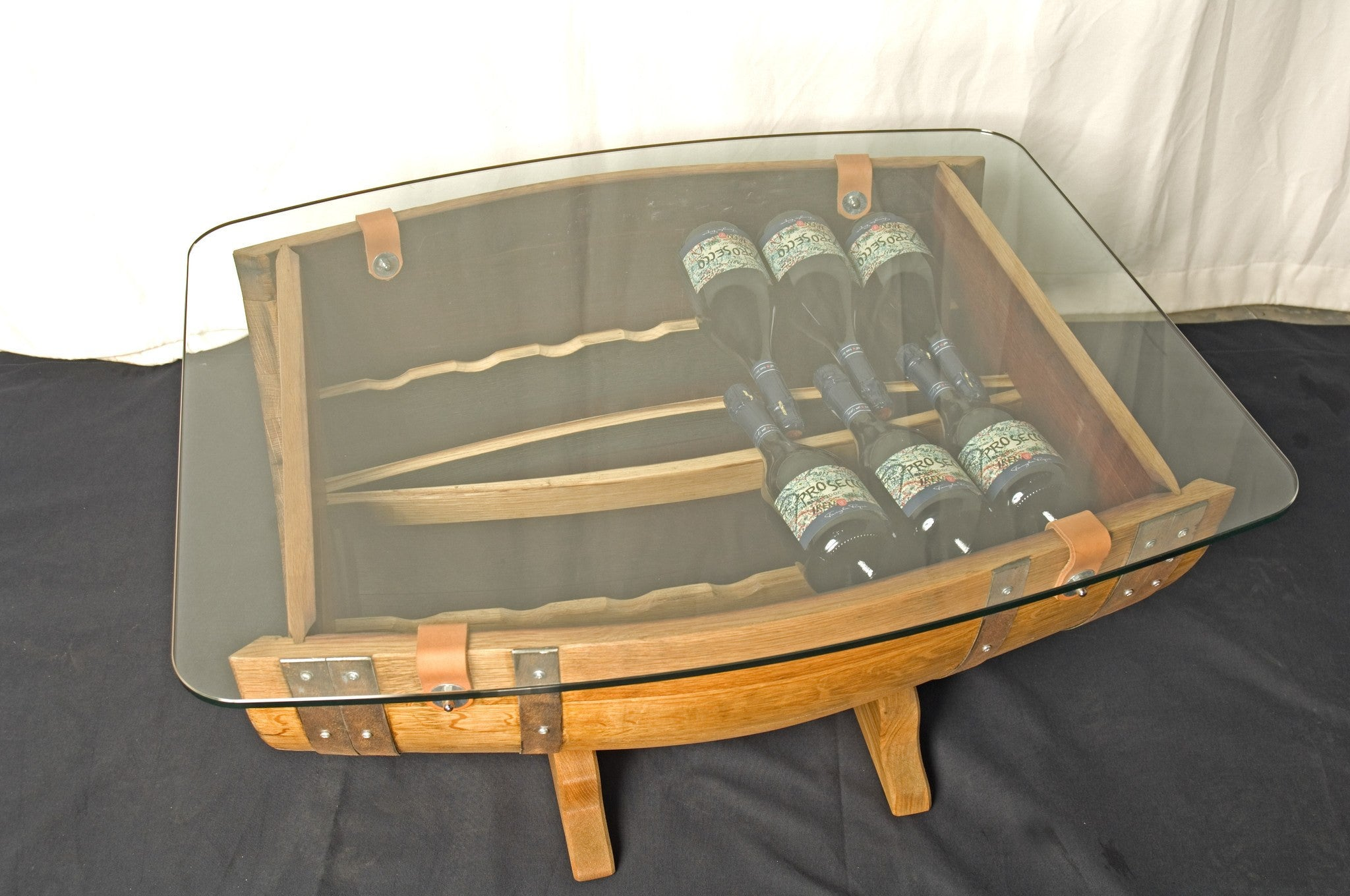 'The Griffiths'  ½ Barrel Coffee Table & Wine Rack (14 bottle) The Fine Wooden Article Co., Gloucestershire, UK