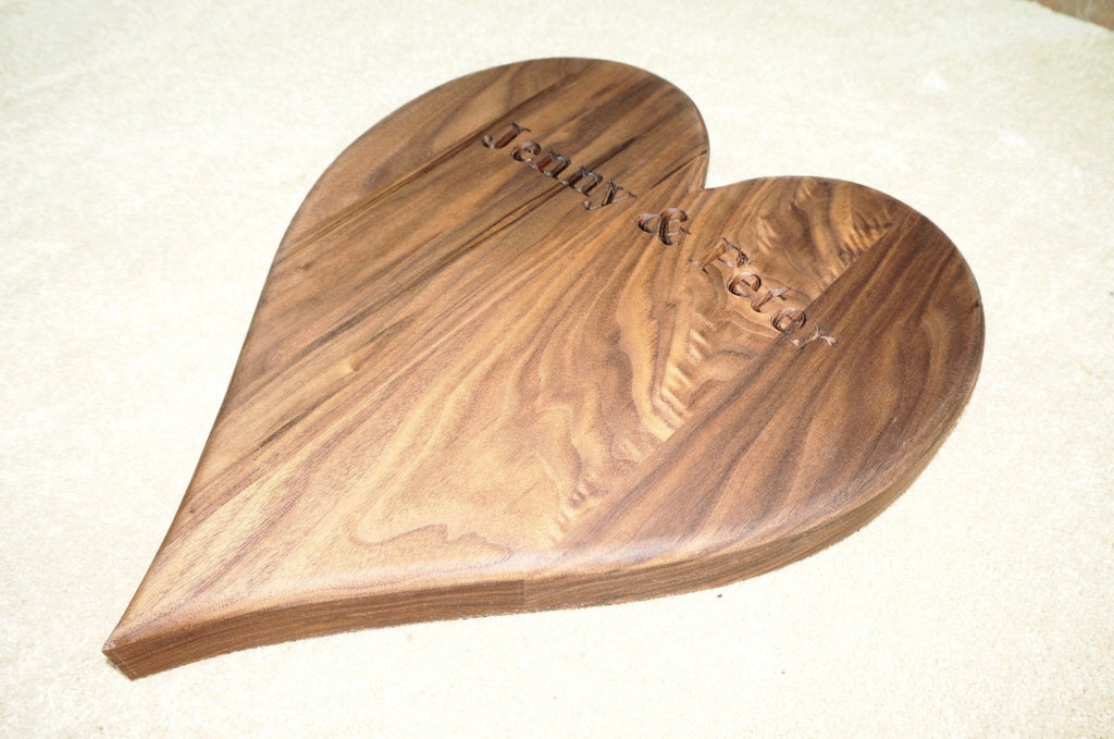 Solid oak or walnut hardwood heart-shaped kitchen, cake, cheese board, bespoke engraving gifts & accessories handcrafted by the Fine Wooden Article Company. Large.